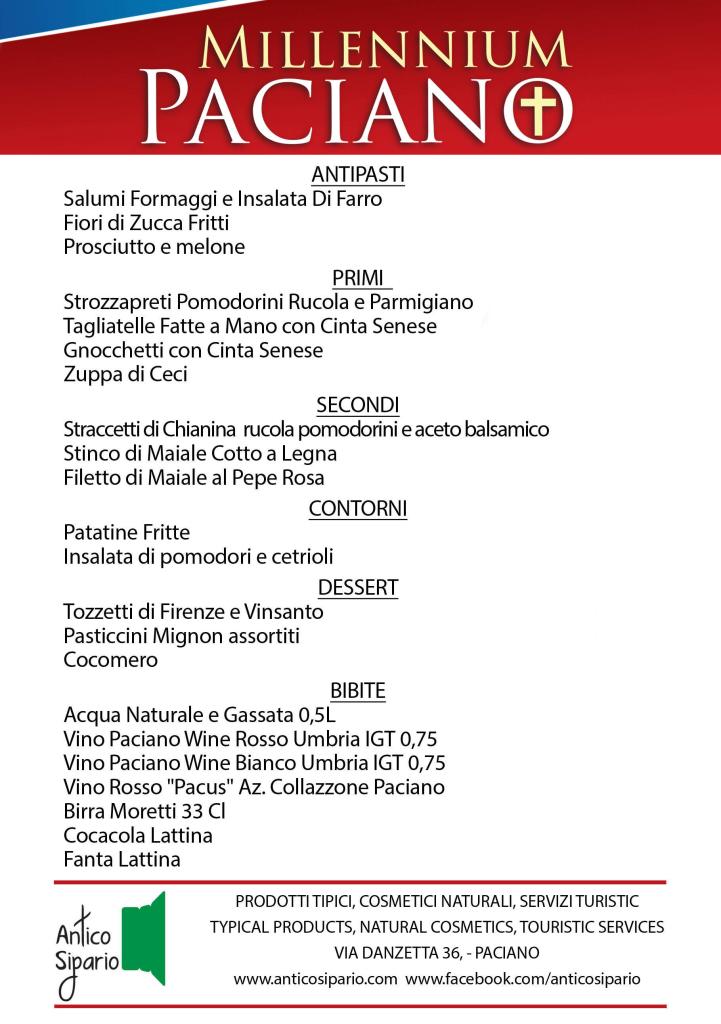 Menu Italiano senza prezzi