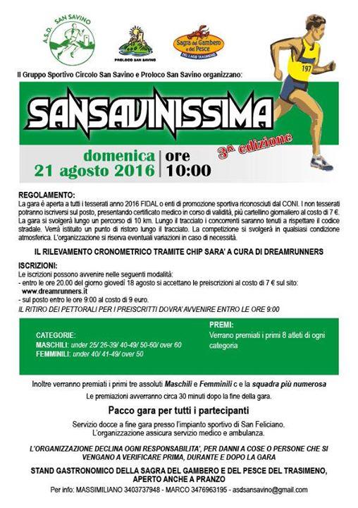 SANSAVINISSIMA 2016 - 3^ EDIZIONE - GARA PODISTICA
