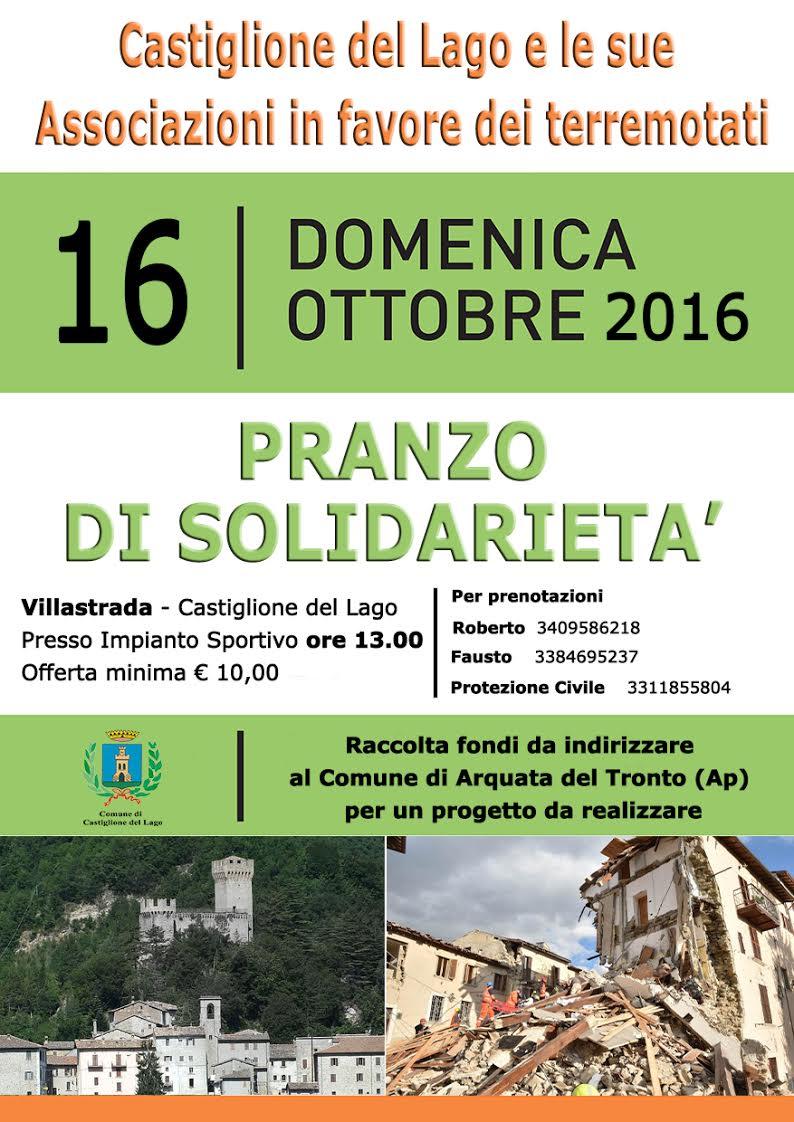 Pranzo di solidarietà in favore dei territori colpiti dal sisma del centro Italia a Villastrada, domenica 16 Ottobre
