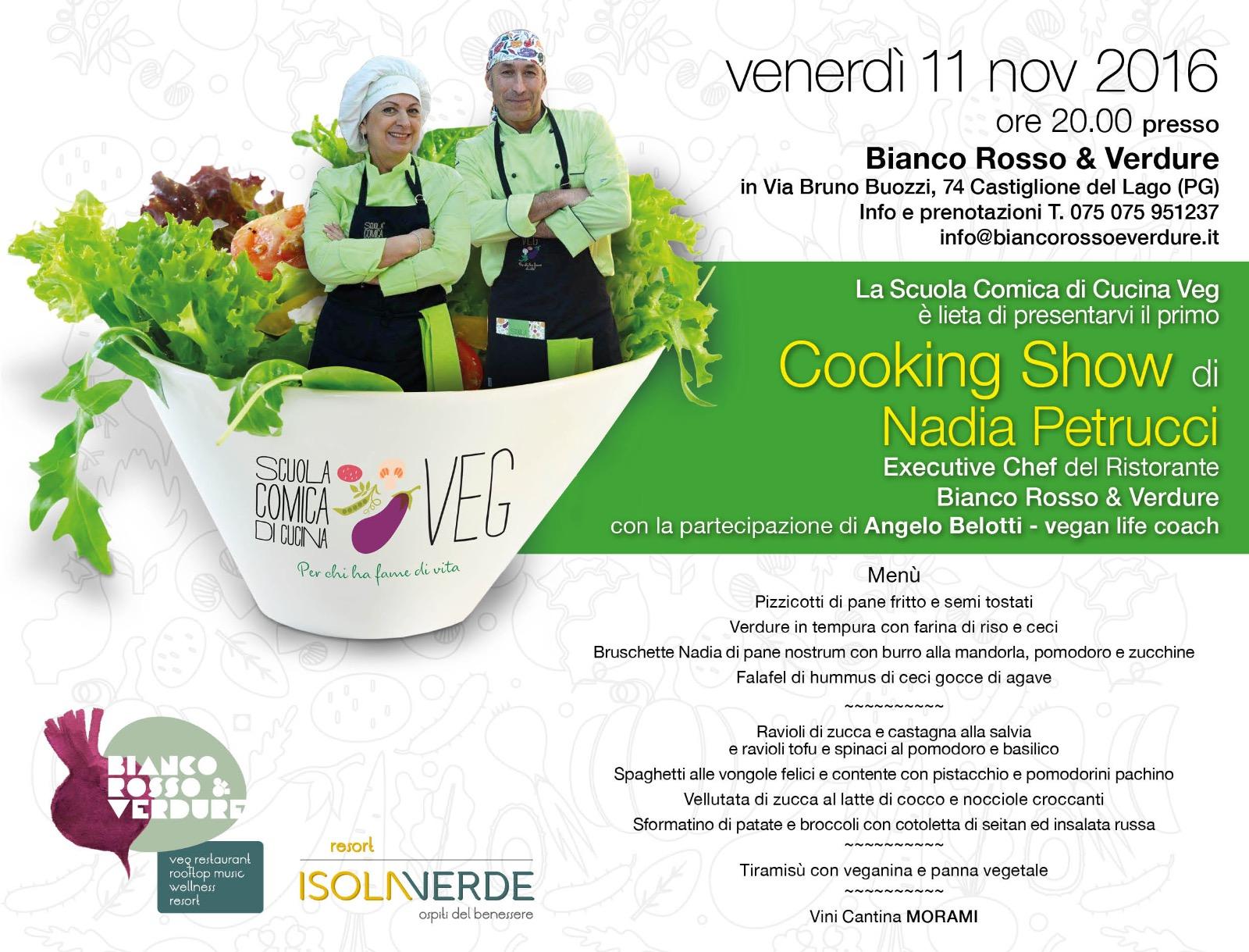 cooking show di nadia petrucci scuola comiica di cucina veg