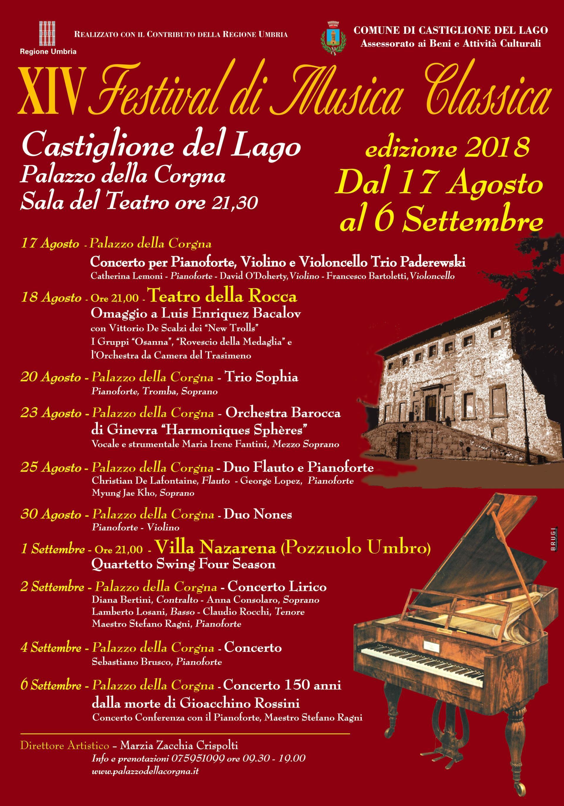 XIV Festival di Musica Classica 2018 castiglione del lago