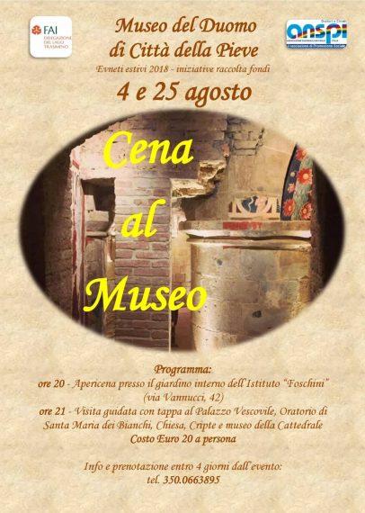 """""""Cena al Museo"""" a Città Della Pieve, al via gli eventi per visite speciali al Museo del Duomo"""