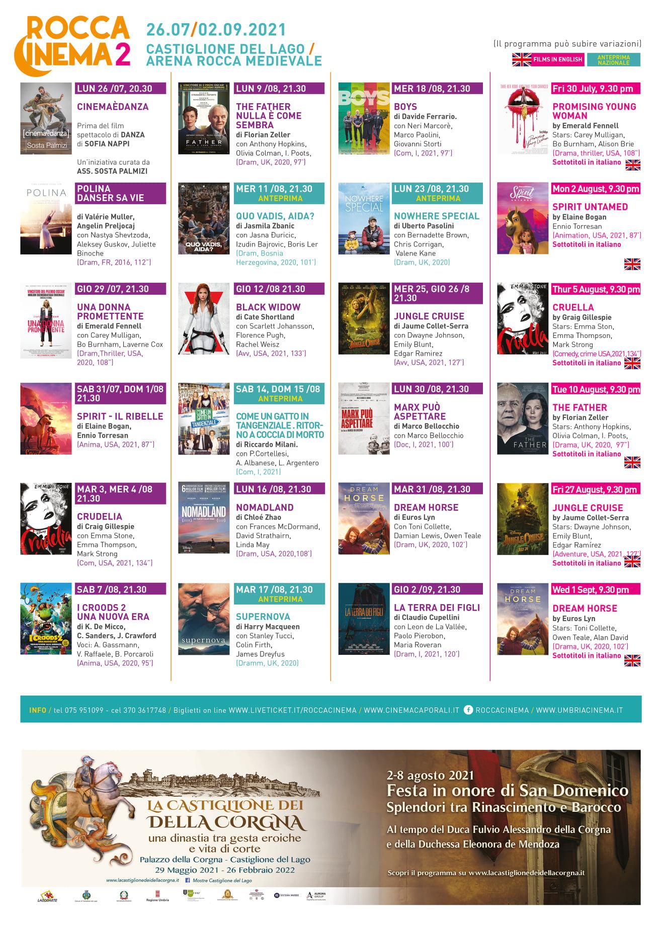 Roccacinema 2021 - dal 26 luglio al 2 settembre